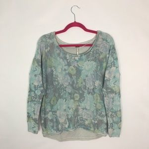 Free People Floral Knit Sweater Blue/ Turquoise S